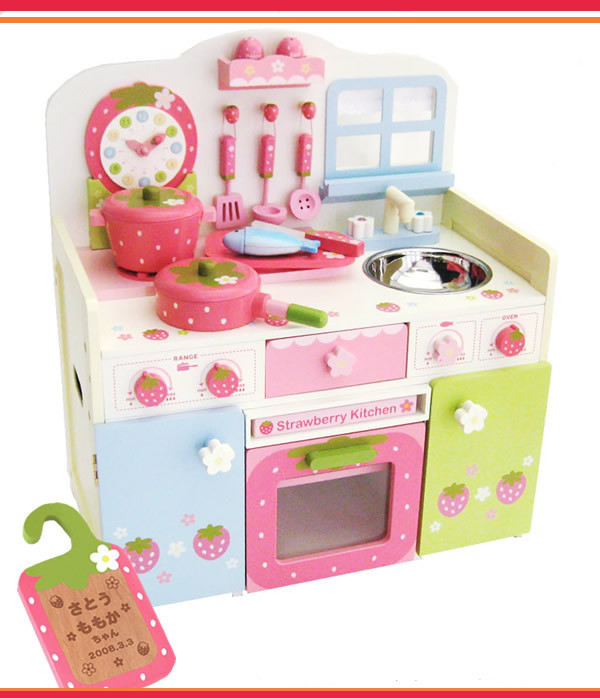 Free Shipping!Wooden Toys Mother Garden Clock Simulation Kitchen Toys Set WorkTop With Apron Girls Pretend Play Toys Gift