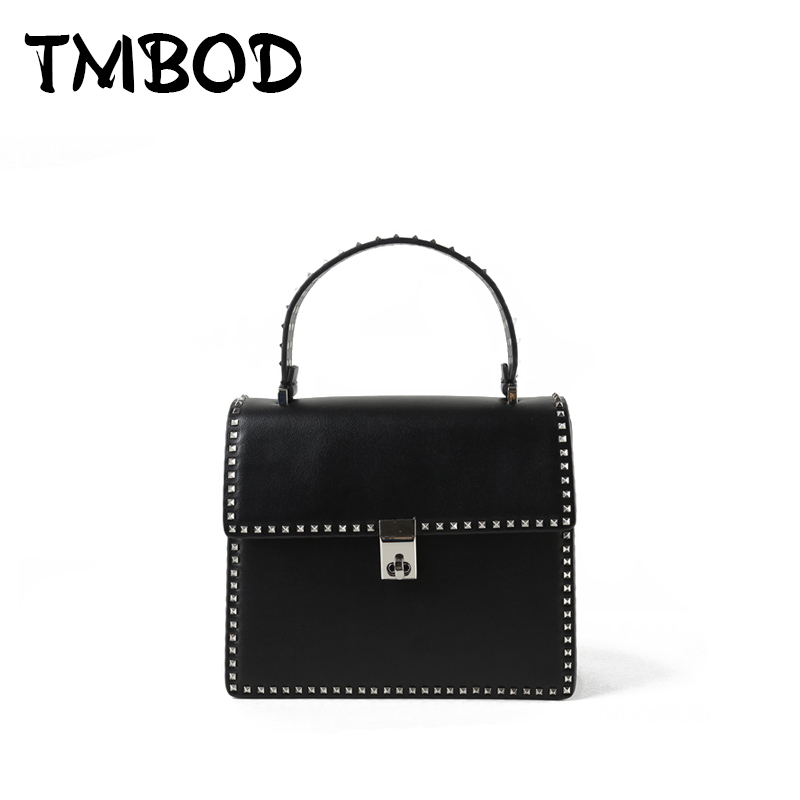 NEW 2018 Classic Retro Studs Tote Satchels Lady Rivet Bag Women Genuine Leather Handbags Ladies Crossbody Bags for Female an1037 all match genuine leather women handbags designer tassel female shoulder bags rivet bag woman crossbody bag studs ladies