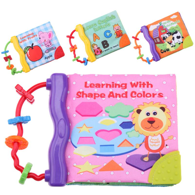 1pc Baby Soft Toys Animal Letter Embroidered Cloth Book Ring Teether Newborn Early Development Books Baby Kids Gifts
