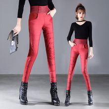 Winter Pants for Women High Waist Elastic Elegant Casual Down Warm Velvet Pencil Classic Thicken Black Red