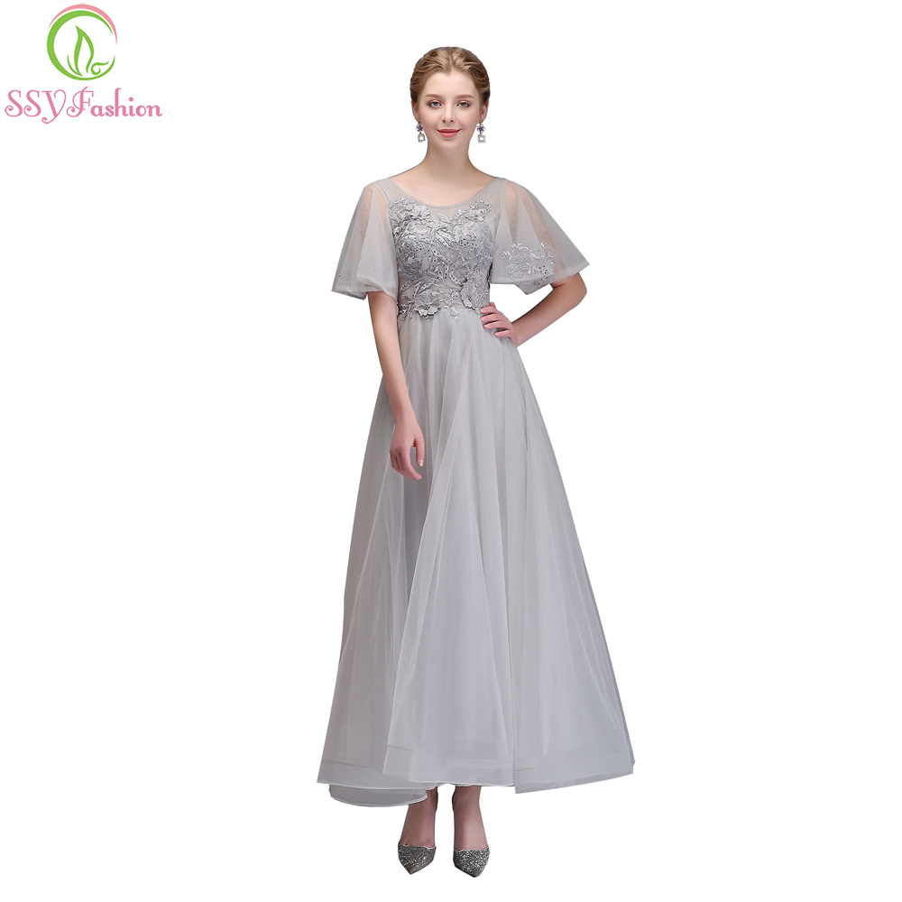 SSYFashion New   Bridesmaid     Dress   The Bride Banquet Elegant Grey Lace Appliques Long Party Formal Gown Custom Robe De Soiree