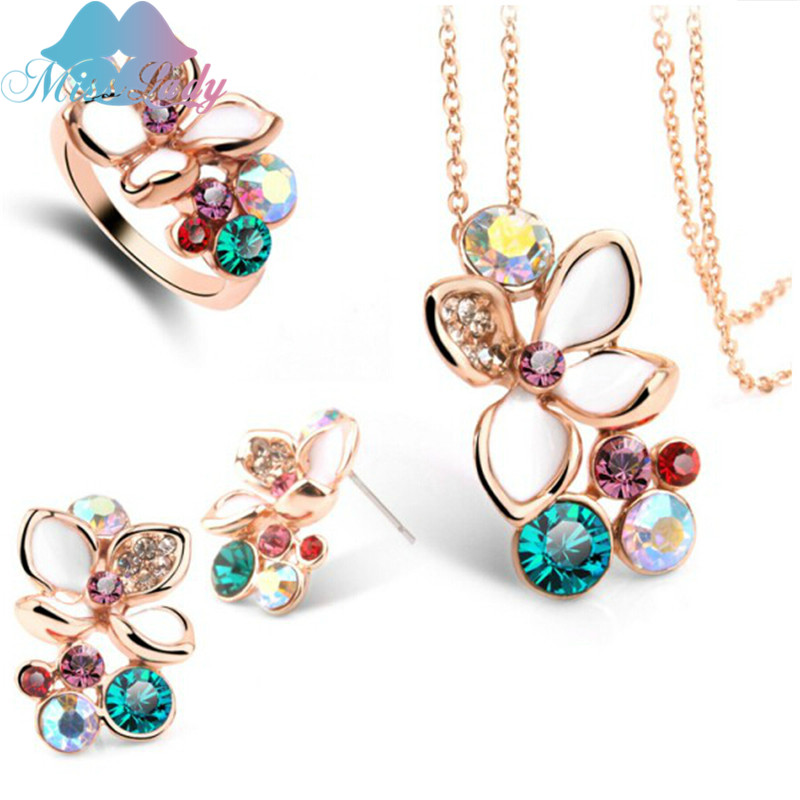 Miss Lady Statement Necklace Earring Ring Jewelry Sets 2017 Nigerian Wedding African Beads Costume Jewelry Sets MLY5043