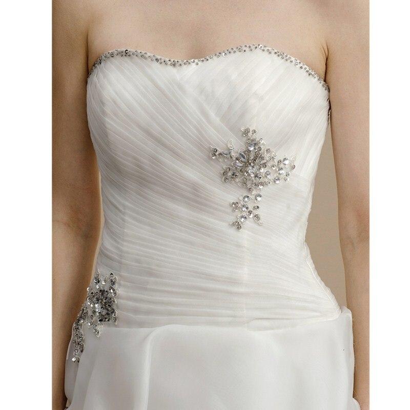 LAN Ting невесты линии без бретелек Асимметричный органза свадебное платье с Бисер аппликации Палочки со шнуровкой и боковой драпировкой
