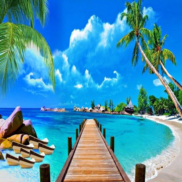 Custom Size Photo Coconut Maldives Beach Sea View