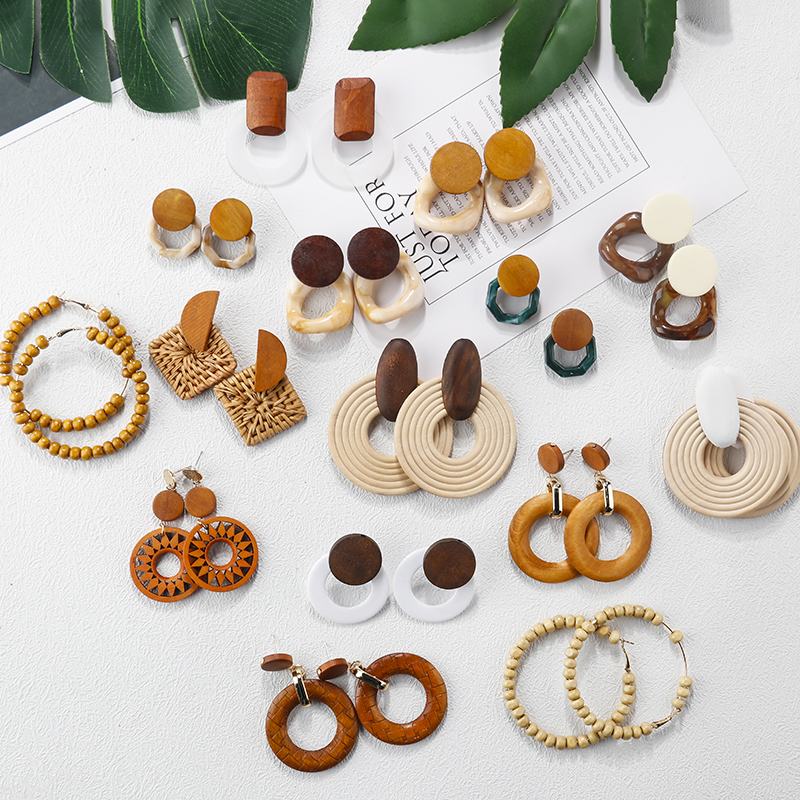 AENSOA Multiple 2019 Korea Handmade Bamboo Braid Pendent Drop Earrings New Fashion Rattan Vine Knit Long Earrings For Women Girl