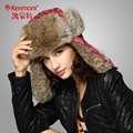 Women Winter Hats Caps Red Of 100% Rabbit Fur With High Quality Ear Protected For Christmas Gift  KM-1370