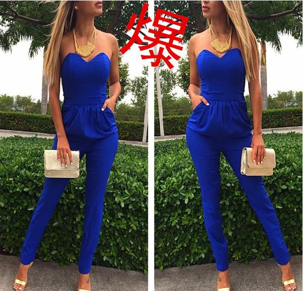 427e3696bd3d QA208 New hot sale boob tube top women sexy jumpsuits elegant blue ladies  trousers playsuits-in Jumpsuits from Women s Clothing   Accessories