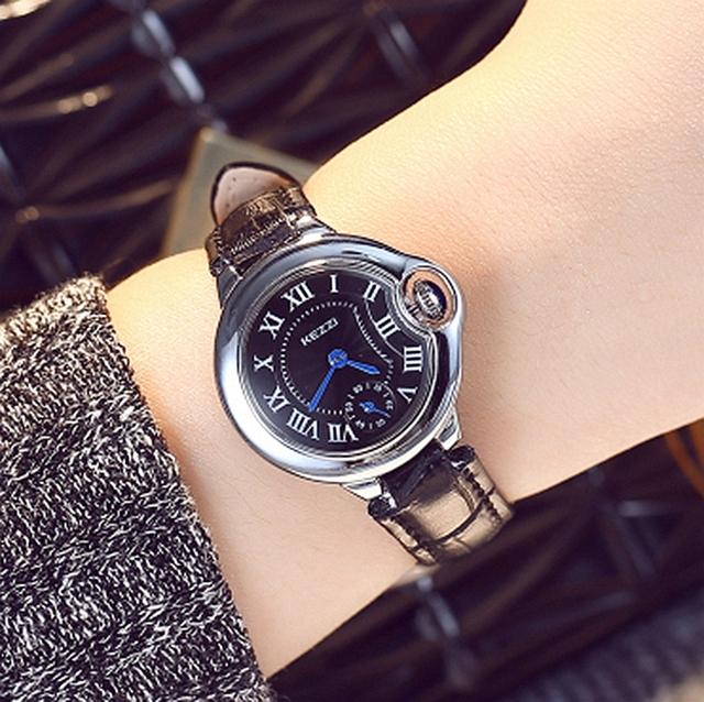 Kezzi mujeres de la marca de relojes de pulsera de señora dress hombres de pulsera de cuarzo ocasional de cuero wtches. reloj mujer relogio feminino