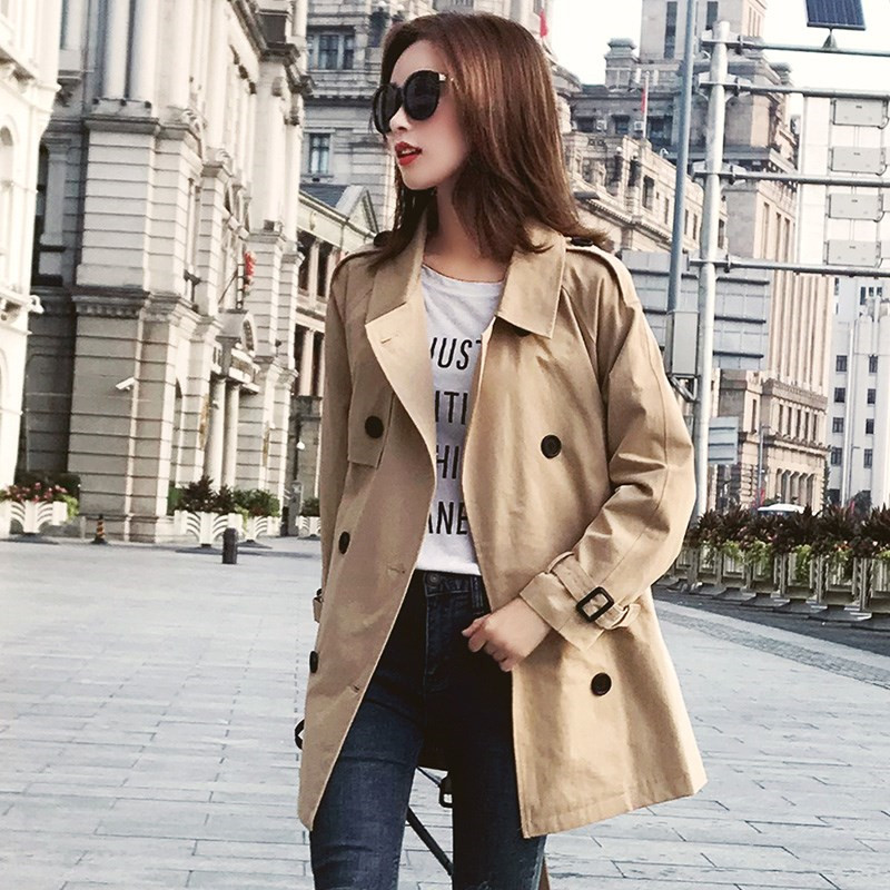 fashion Spring Autumn   Trench   Coats for Women Outerwear 2019 korean long sleeve Double-breasted ladies Windbreaker Outerwear V654