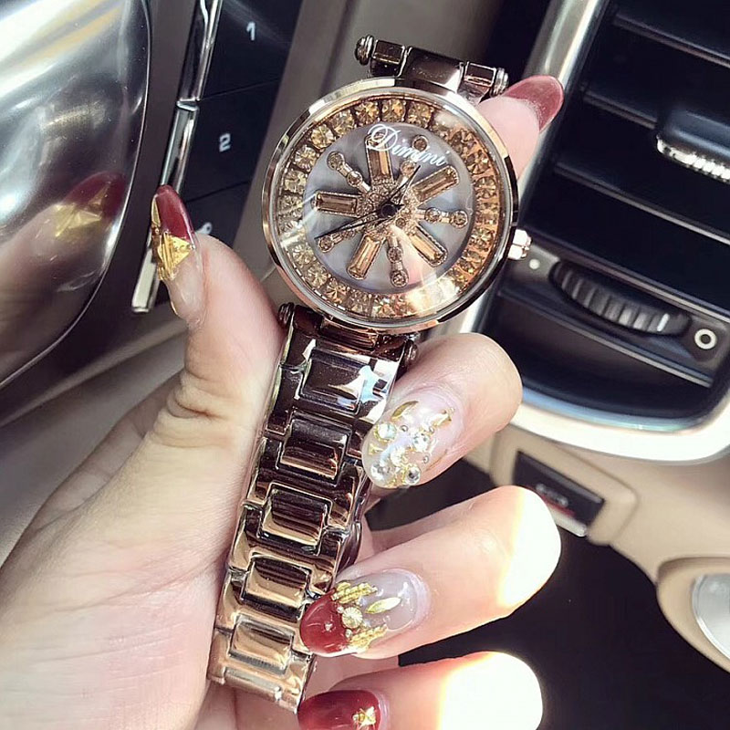 2018 Luxury Brand Watch Women Stainless Steel Diamond Watches Ladies Dress Watch Rotation Rhinestone Purple Watch Clock onlyou brand luxury fashion watches women men quartz watch high quality stainless steel wristwatches ladies dress watch 8892