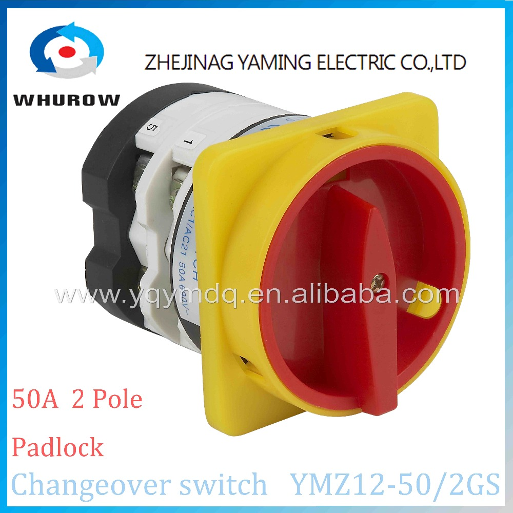 Rotary switch 2 position OFF-ON YMZ12-50/2GS padlock universal manual electrical changeover cam switch 50A 2 pole high quality load circuit breaker switch ac ui 660v ith 100a on off 3 poles 3 phases 3no 2 position universal rotary cam changeover switch
