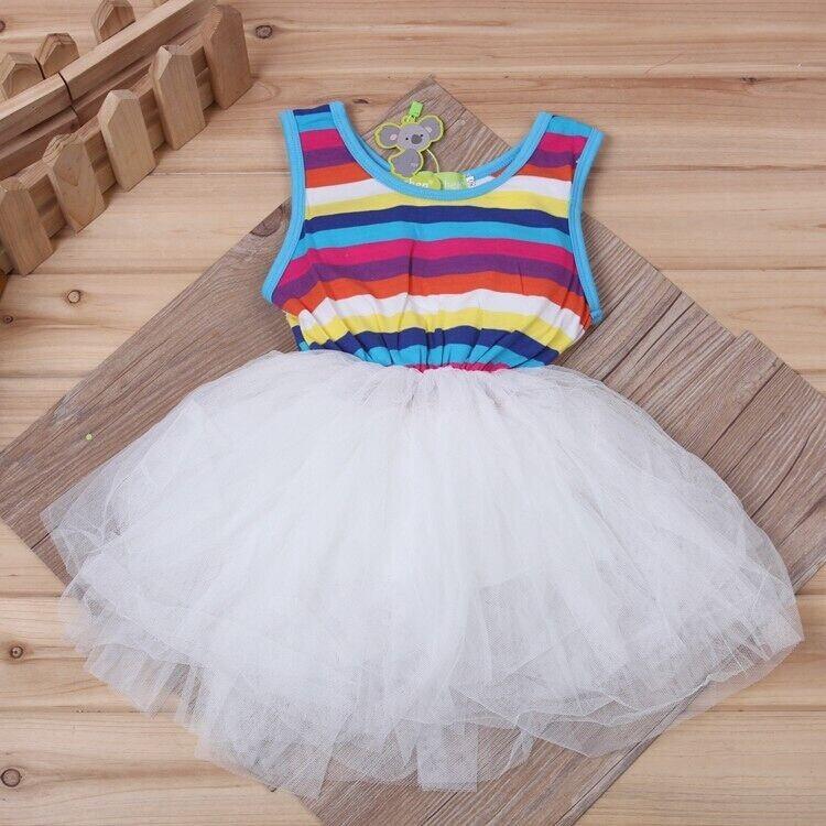 девочка платье / радуга laden пряжа платье / без рукавов laden платье / лето