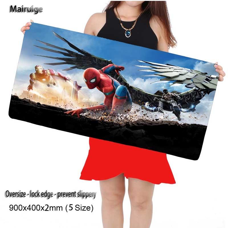 Mairuige Shop 900mm X 400mm Spiderman DIY Custom L XL Super Grande Large Mouse Pad Game Gamer Gaming Keyboard Mat for Lol Csgo