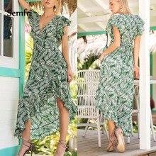 Semfri Boho Beach Dress Summer Womens Floral Printed Green 2019 Elegant V-Neck Short Sleeve Party Irregular Sundress