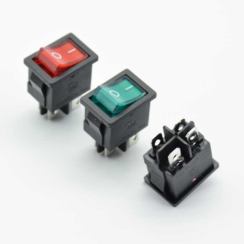 5PCS 21x15mm KCD1-104 Rocker power Switch With LED lights boat  Red 4 pin 2 terminal Hole size 13*19mm 6A 250V  125V