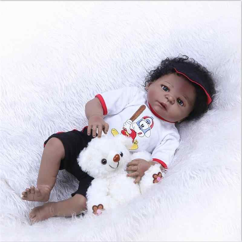 """22 """"ручной работы reborn baby dolls полное виниловое покрытие силиконовая Черная Кожа Детская кукла и одежды игрушки Playmate ванны игрушки Рождественский подарок"""