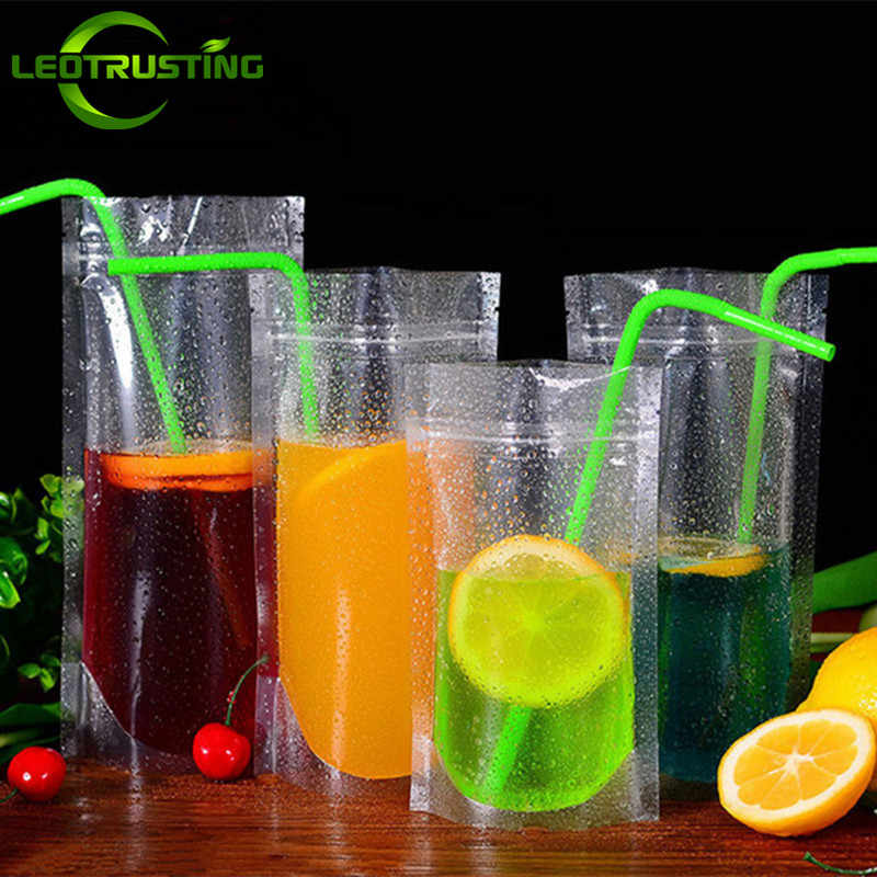 Leotrusting 50pcs New Clear Plastic Drinking Packaging Bag Beverage Juice Milk Coffee Pouch Hot and Cold Fruit Juice Zip Bags