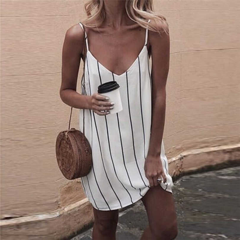 MIOARHB Summer Dress Women Sexy Striped White Dress Vintage Woman Elegant Bohemian Beach Party Dress Sleeveless Sundress A20