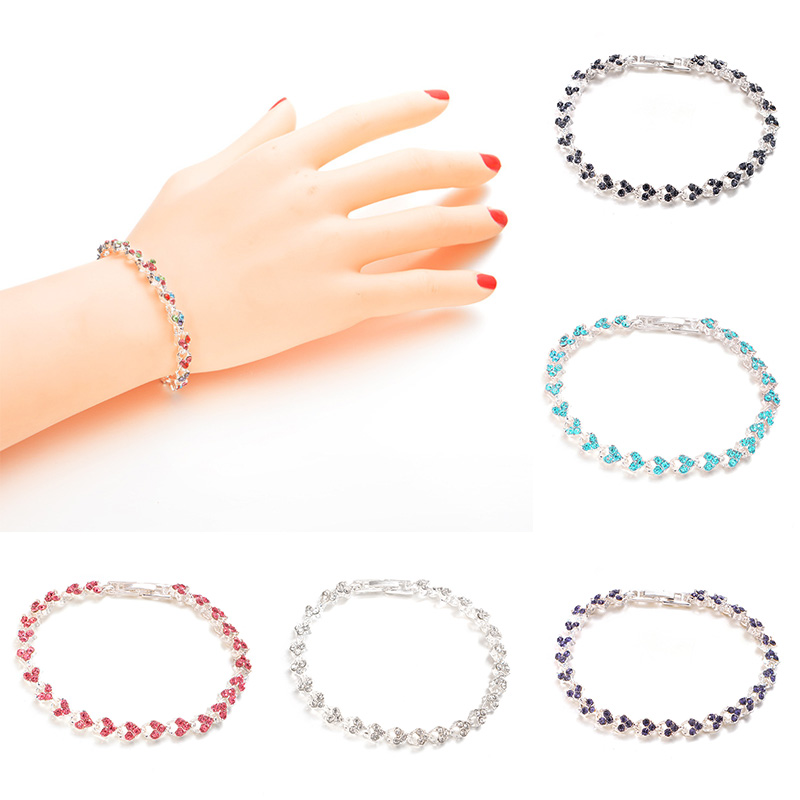 Women Charm Shiny Crystal Bracelet Bangle Jewlery Accessories Gifts KQS8