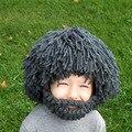 Adultos Niños Peluca Barba Cabeza de Punto Sombreros Otoño Invierno Cálido tapas de Los Niños de Navidad Máscara de Punto Sombreros de Las Mujeres y Los Hombres Beanie