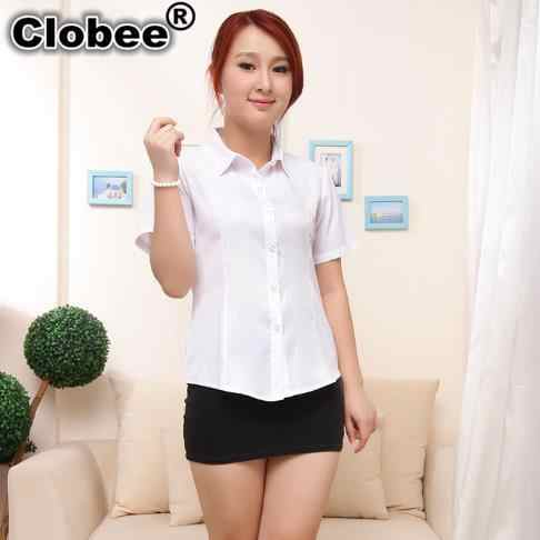 White Women Shirt 2019 Plus Size women Blouse 2XL-9XL Oversized Short-sleeve White Blue Shirt Ladies Office Wear Slim Tops M282