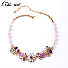 Dazzling Pink Beads Chain Blooming Flower Charming Necklace Factory Wholesale