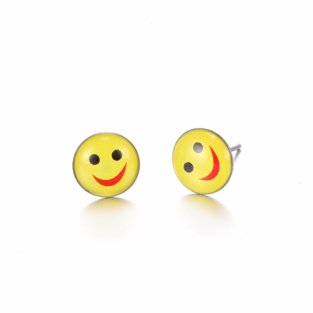 12 Pairs Set Round Yellow Hy Face Emoji Earrings Cute Funny Smiley Stud Christmas Kits Jewelry In From