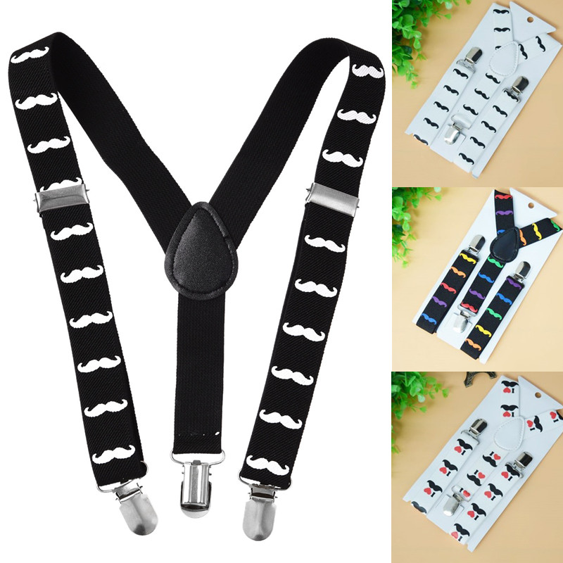 Fashion Children Kids Boy Girls Lovely Mustache Print Suspenders Elastic Adjustable Strap Clip Shirt Clothing Accessories