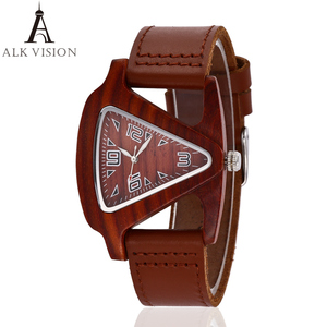 Image 4 - ALK bamboo triangle colorful Women wood wrist watch ladies wooden watches 2020 leather strap female male quartz wristwatch saati