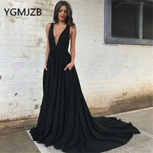 Backless Black Evening Dresses Long 2019 A-line Deep V-neck Chiffon Custom Made Saudi Arabic Women Formal Prom Gown Party Dress цена