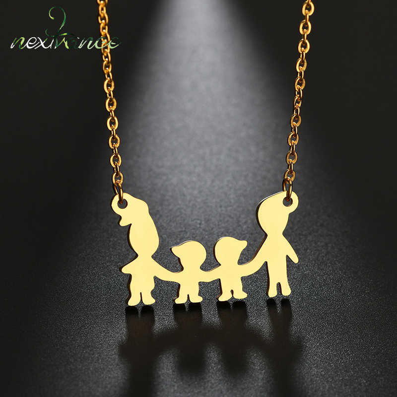Nextvance Two Boy Parent Happy Family Necklace Gold Kids Children Pendant Necklaces for Birthday Gift Bijoux