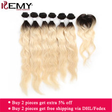 Ombre Blonde Human Hair Bundles With Closure KEMY HAIR Brazilian Natural Wave Human Hair Extensions Non-Remy Hair Weaves 6PCS(China)