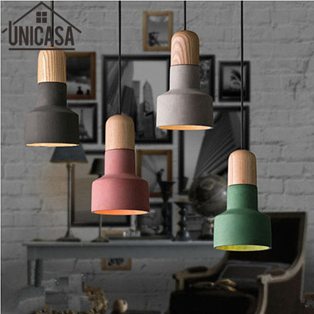 Vintage lights industrial hotel pendant light fixture led cement vintage lights industrial hotel pendant light fixture led cement shade wooden lamps color mini lighting bar aloadofball Image collections
