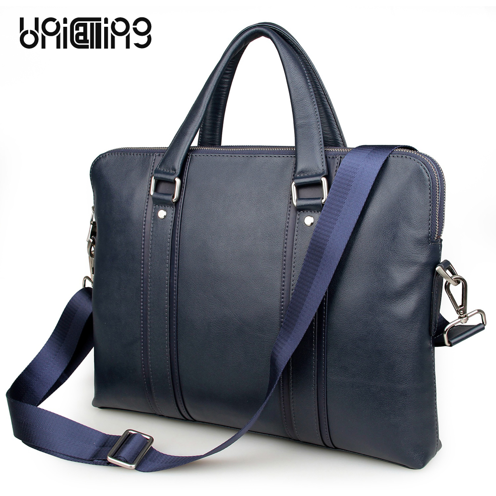 UniCalling England style royalblue genuine leather men bag men's leather briefcase business leather 15 inch laptop messenger bag messenger bag men leather unicalling fashion quality cowhide genuine leather men bag casual men leather bag laptop bag 14 inch