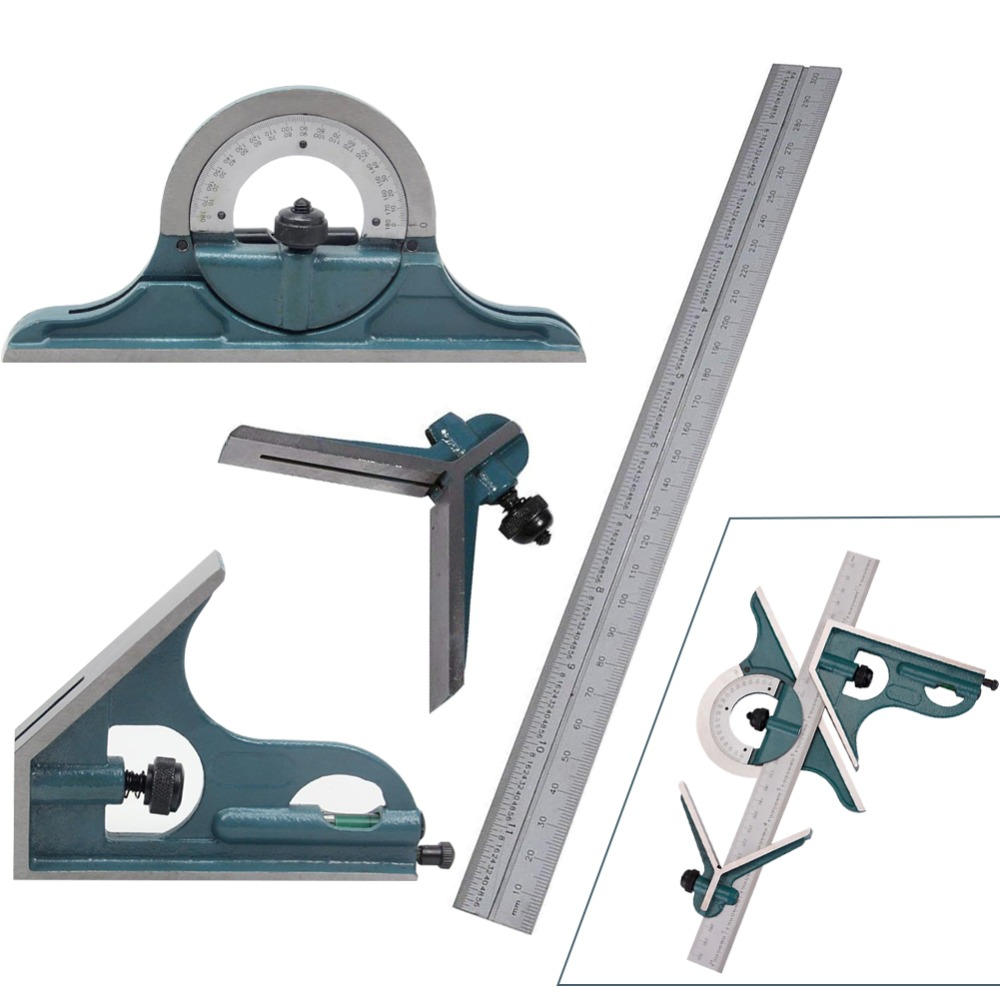 3 In1 Adjustable Protractor Carpenter Tools Square Angle Ruler Stainless Steel Combination Universal Set Multi function
