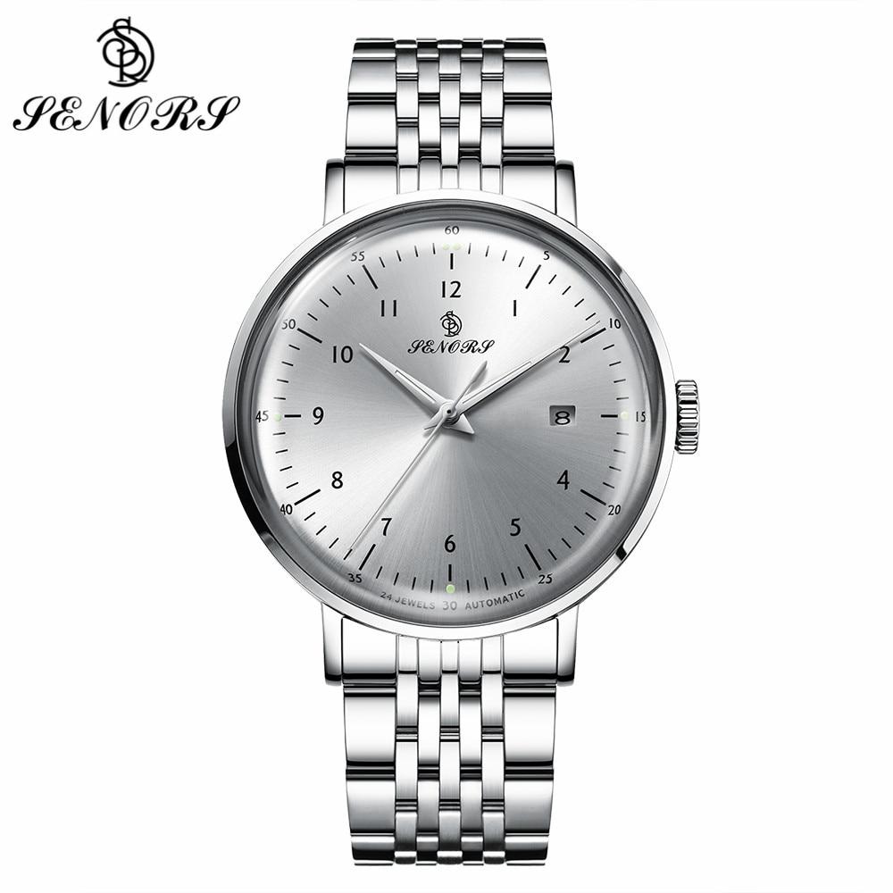 SENORS Black/ White Men Automatic Watch Calendar Luminous Hands Clock Male Wristwatch Bracelet Waterproof Men Mechanical Watches senors серебряный