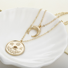 Necklace Women Round Coin & Half Moon Pendant
