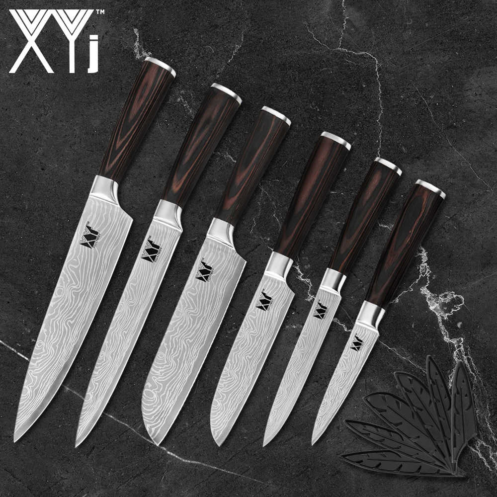 XYj Kitchen Knife Set 6-pieces Japanese Chef Knives High Carbon Stainless Steel Vegetable Knife Pakka Wood Handle Cutting Tool