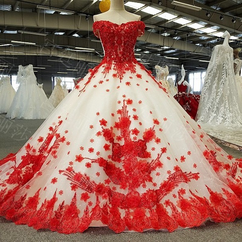 EZKUNTZA 2019 New China Red With Off White Luxury Wedding Dress Princess Flower Lace Up With Train Wedding Gown Robe De Mariee L