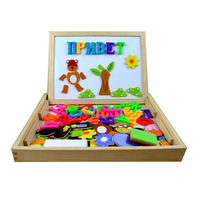 Russian Alphabet Letters Multifunctional Wooden Animal Magnetic Puzzle Drawing Board Learning Education Toys For Children
