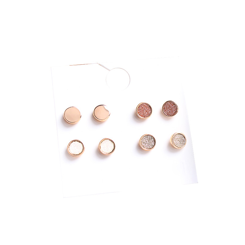 wing yuk tak 4 Pairs/Set Round Small Stud Earrings For Women Fashion Classic Boho Gold Color Earrings Set Cheap Jewelry 29
