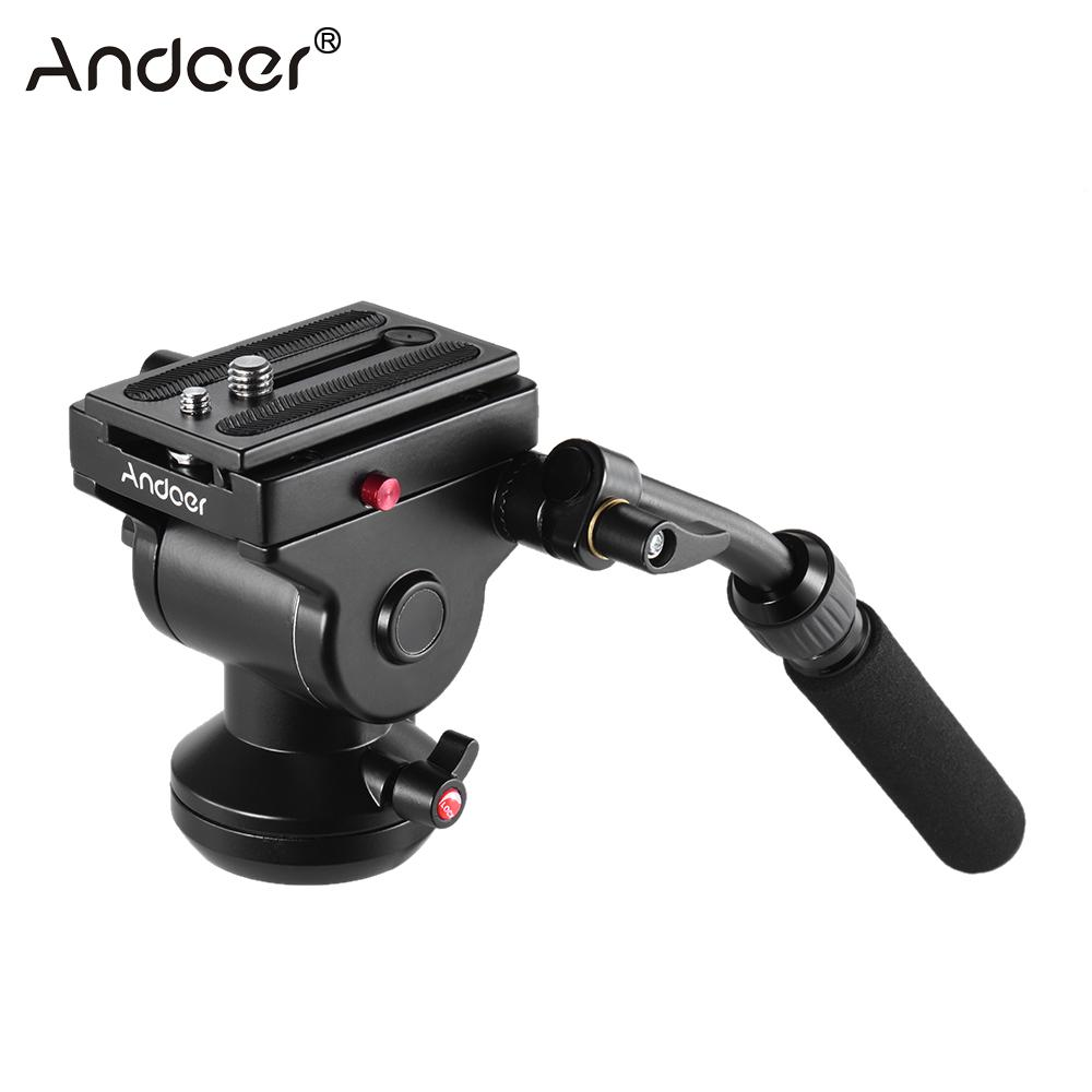 Andoer Photography Head Video Camera Tripod Fluid Drag Pan Head Hydraulic Panoramic Photographic Head For Canon Nikon Sony