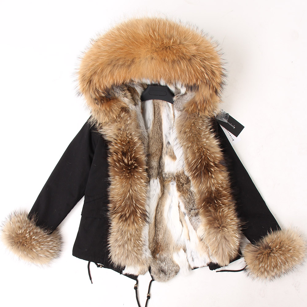 Image 4 - Natural rabbit fur lined with cotton fur coat winter female warm parkReal Fur   -
