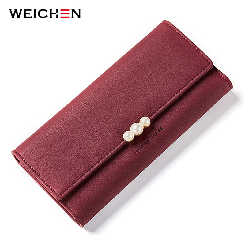 Elemento perla mujeres carteras tarjeta de crédito bolsillo para el móvil monedero señoras embrague bolsa rojo cuero suave larga Mujer cartera Carteira