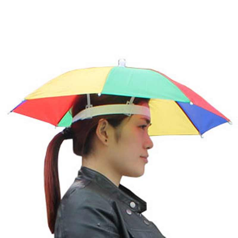 aa1d6e2075b01 55CM Portable Outdoor Sports Sun Umbrella Hat Cap Folding Women Men Umbrella  Fishing Hiking Golf Beach