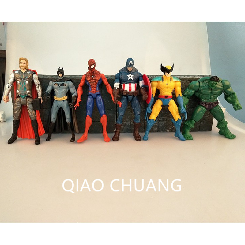 Cartoon The Avengers Superhero Batman Thor Captain America Hulk Spider-Man Wolverine 6Pcs/set PVC Action Figure Toy G402 6pcs set the action figures batman spider man iron man hulk thor captain america action toy figures boys girls toy