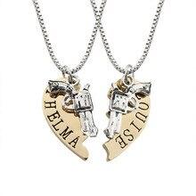 TOFOL Men Women Necklace Thelma Louise Heart Shaped Pistol Stitching Pendants  Male female Necklaces Fashion Gun Jewelry