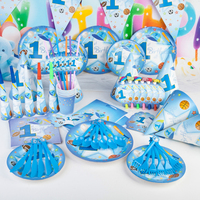New 2017 90 pcs Kids Event Birthday Party Decoration Paper Tableware Set Boy Pirnce Theme Event Disposable Tableware Sets