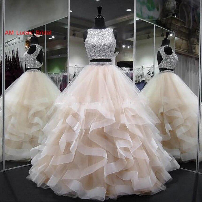 Новое бальное платье Бальные платья двойка бисером кристаллы сладкий 16 лет День рождения Vestido De 15 Anos