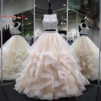 New Ball Gown Quinceanera Dresses Two Pieces Beaded Crystals Sweet 16 Years Birthday Party Gowns Vestido De 15 Anos